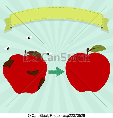 Rotting fruit apple clipart.
