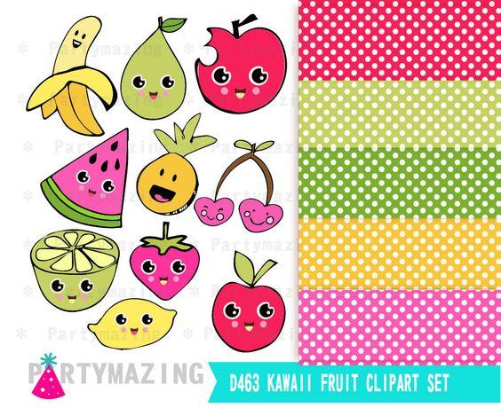 Fruit Clipart, Kawaii Fruit, dessert clipart, Digital Paper.