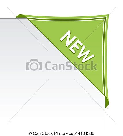 Vector of New green corner business ribbon on white background.