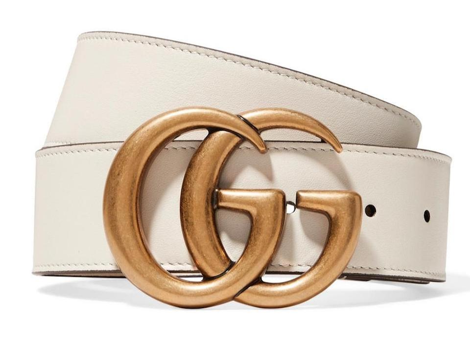 Gucci Off White Ivory New 80 Gg Gold Leather Logo New Belt.