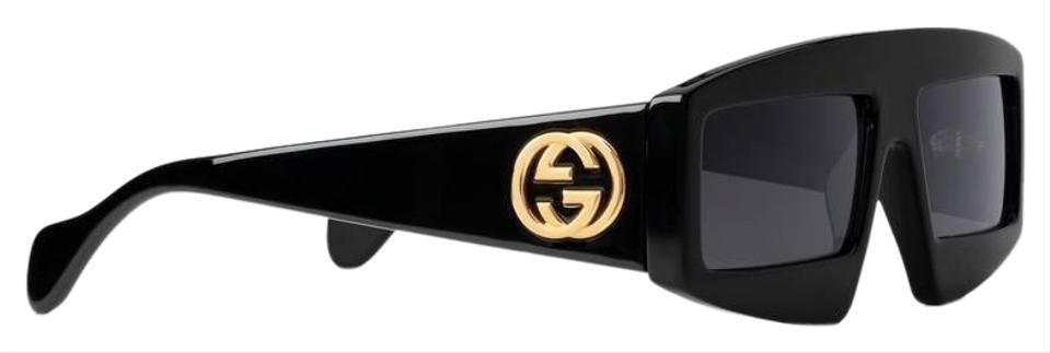 Gucci Black New Gg0358s Rectangle Thick Rim Logo Sunglasses 40% off retail.