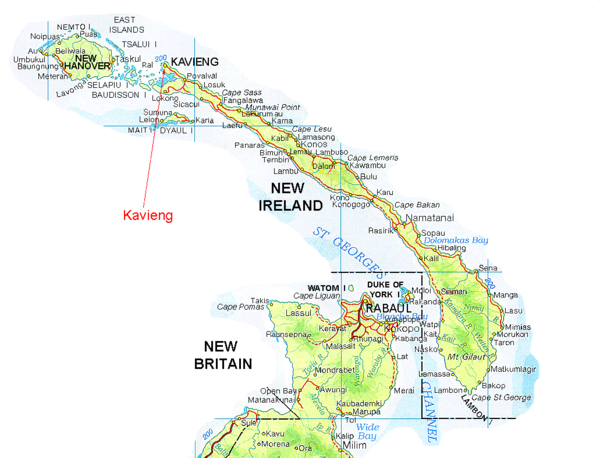 New Ireland and Kavieng Map.
