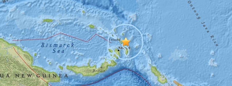 Strong and deep M6.7 earthquake hits New Ireland region, P.N.G..