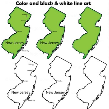 New Jersey State Symbols and Map Clipart.