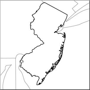 Clip Art: US State Maps: New Jersey B&W I abcteach.com.