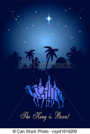 Vector Clipart of Christmas illustration: three Wise Men are.