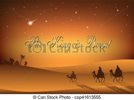 Clipart Vector of Biblical Christmas illustration: three Wise Men.