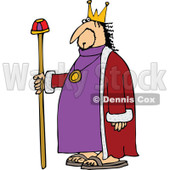 Clipart of a Chubby Scraggly King in a Purple Robe, Holding up a.