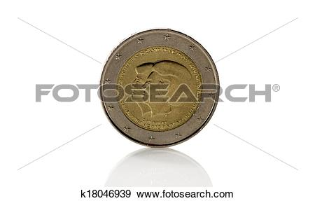 Stock Photograph of tow euro coint with the new king alexander.