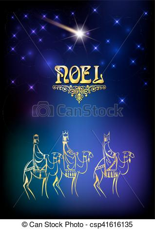 Vectors of Christmas illustration: three Wise Men are visiting the.