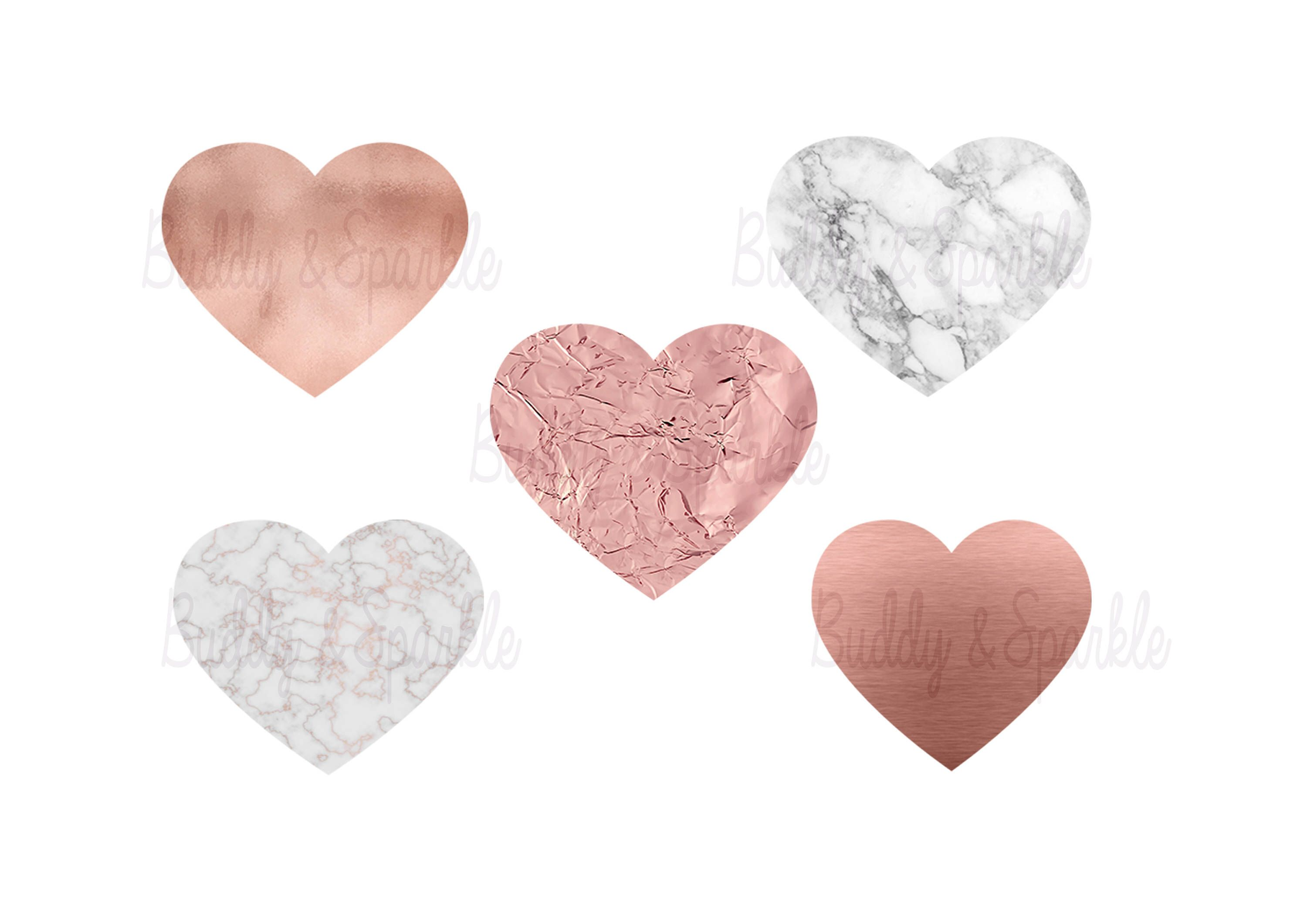 Rose Gold and Marble Hearts Clipart.