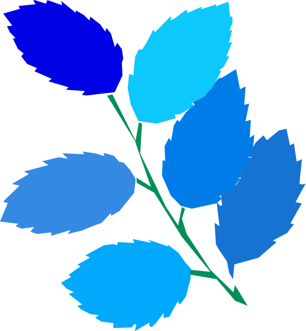 Blue Leaves Clip Art.