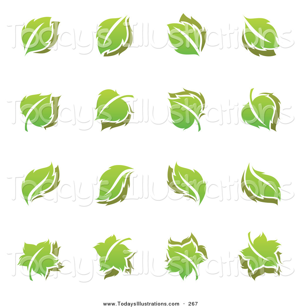 Clipart of a Digital Set of Green Leaf Logo Icons by elena.