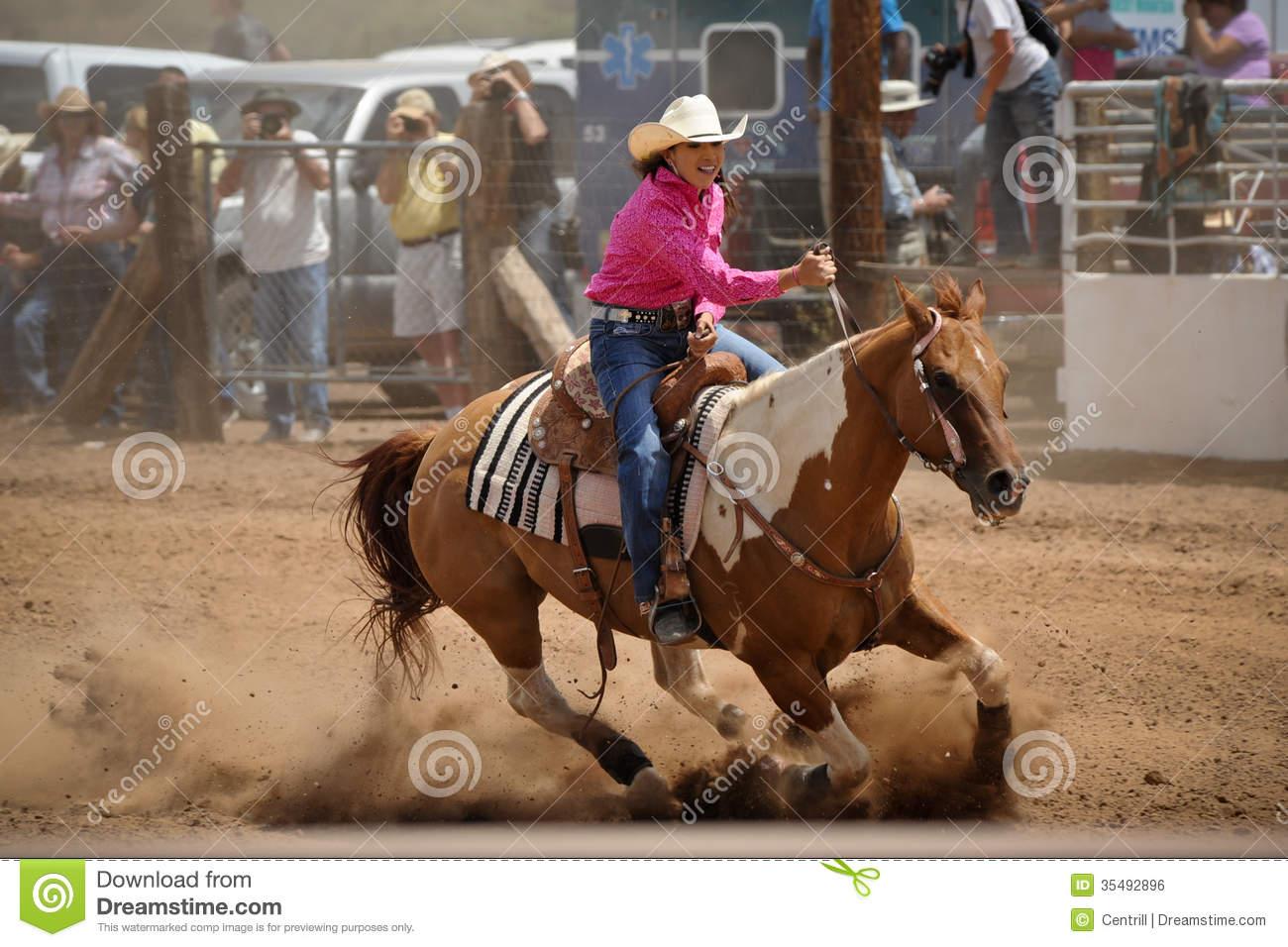 Rodeo Barrel Racing Editorial Photo.