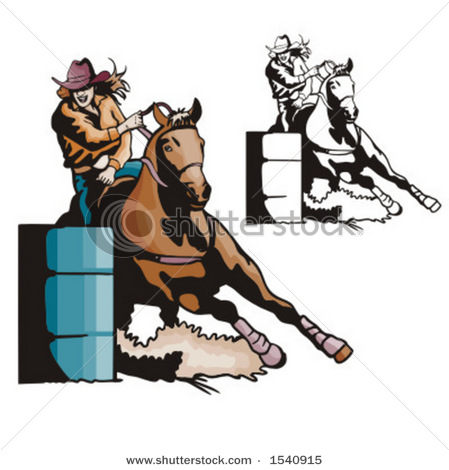 Art Vector Illustration of a Cowgirl Barrel Racing Her Horse in a.