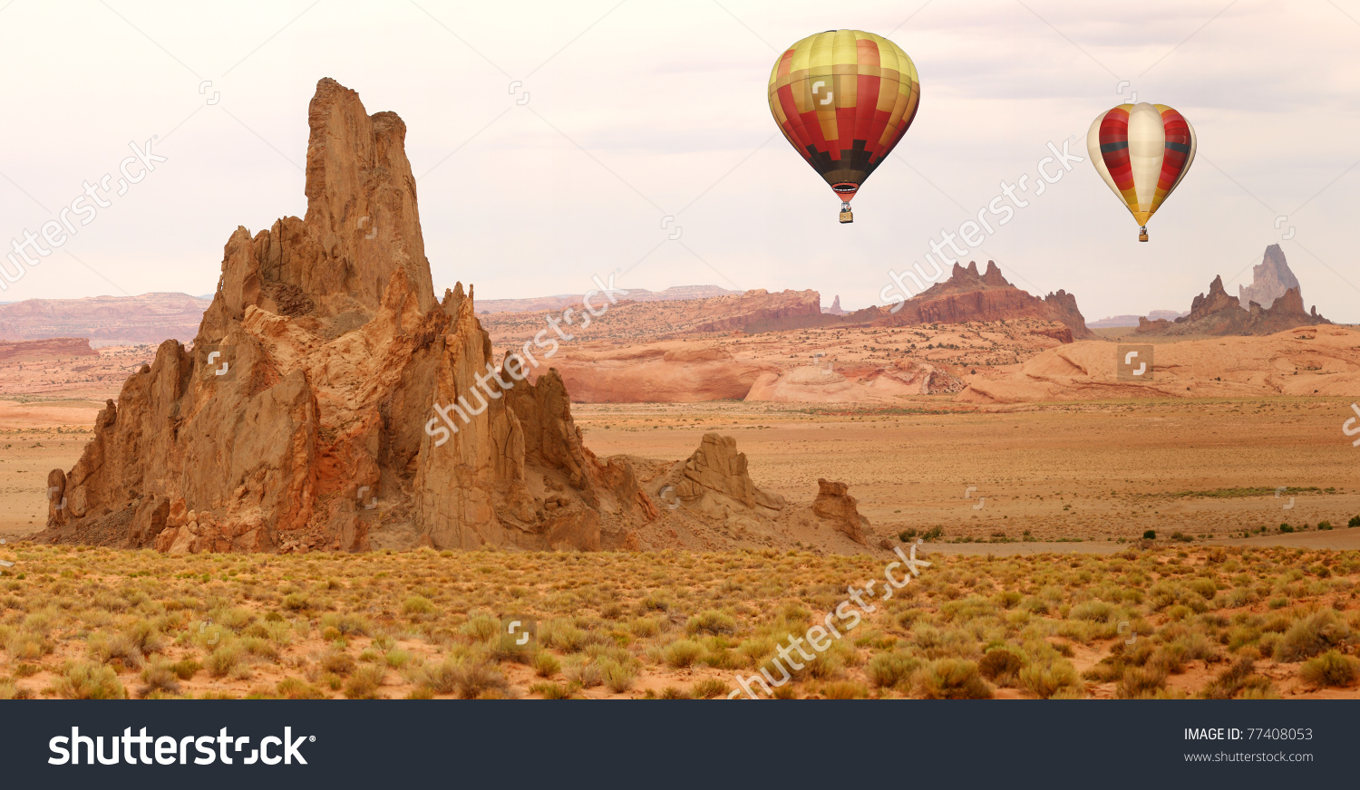 Hot Air Balloon Flying Over New Stock Photo 77408053.