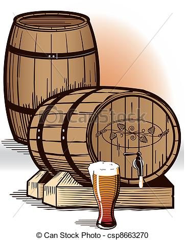 Vector Clipart of Beer Barrels.