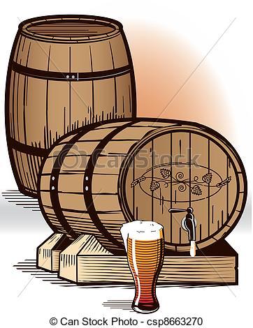 Vector Clipart of Beer Barrels.