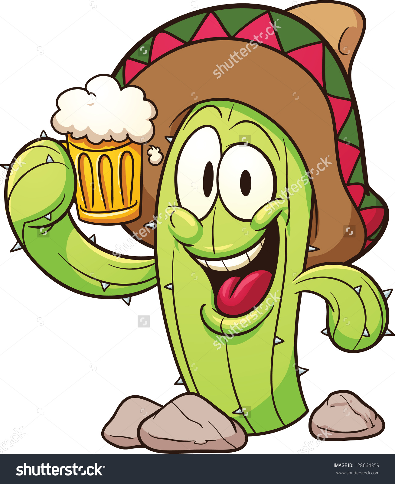Cartoon Mexican Cactus Holding Beer Vector Stock Vector 128664359.
