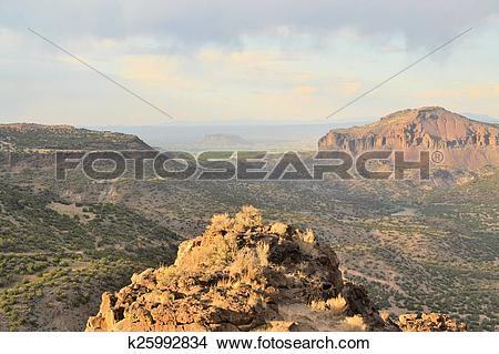 Stock Photo of Sweeping landscape of desert landscape, Santa Fe.