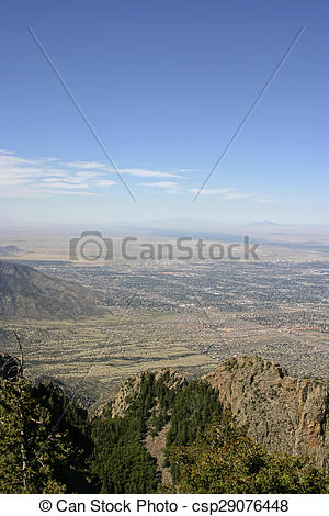 Stock Photo of Aerial View of Albuquerque, New Mexico.