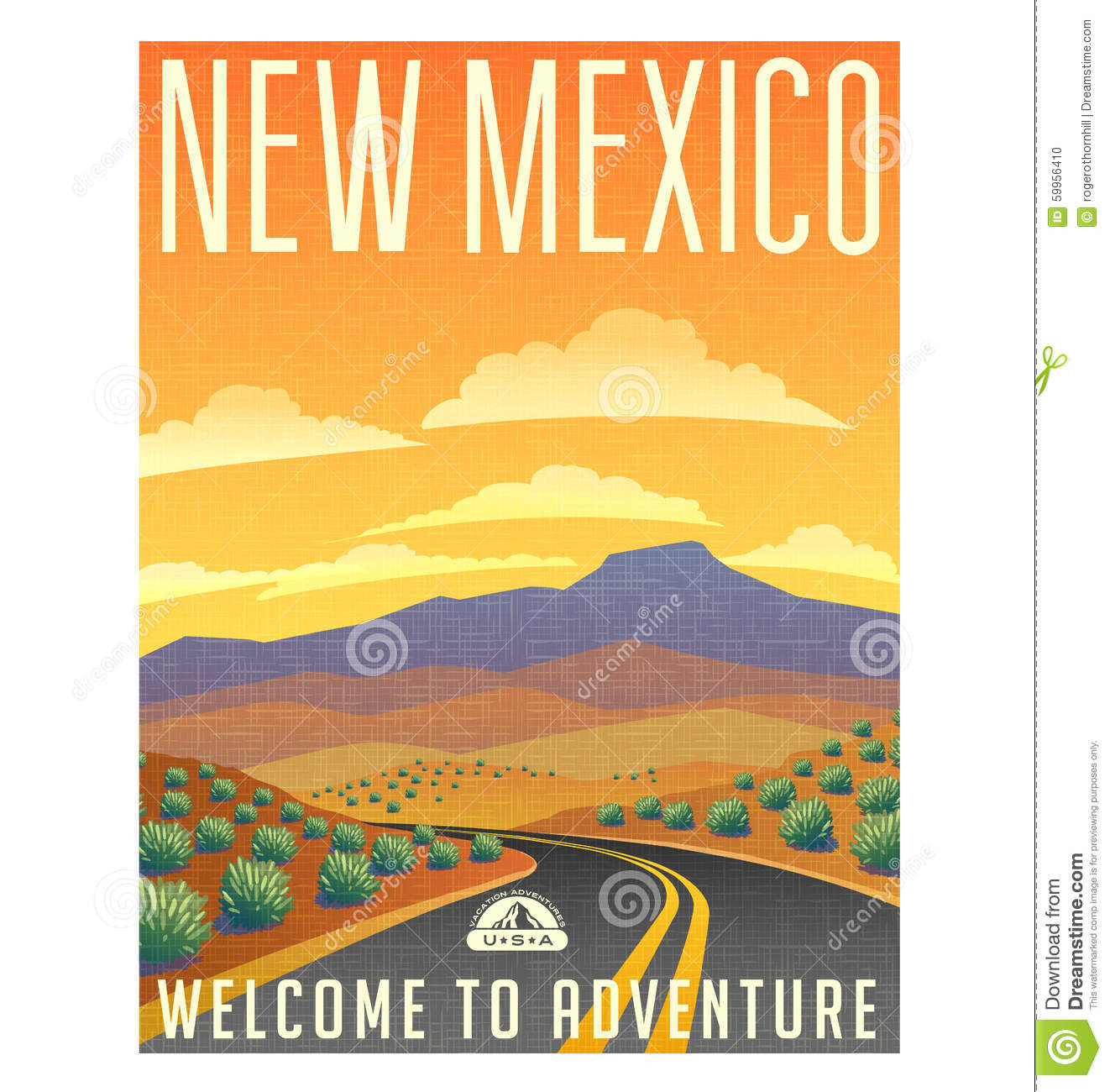 Retro Style Travel Poster United States, New Mexico Desert Stock.