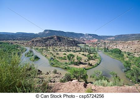 Stock Image of Rio Chama River Bend Jemez Mountains New Mexico.