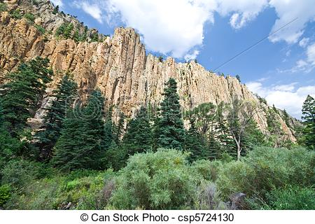 Stock Photography of Palisade cliff in Cimarron Canyon State Park.