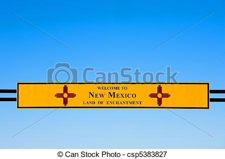 Picture of Welcome to New Mexico sign on Interstate I.