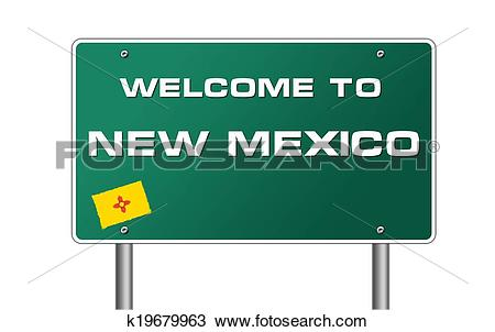 Drawing of Welcome to New Mexico road sign illustration k19679963.