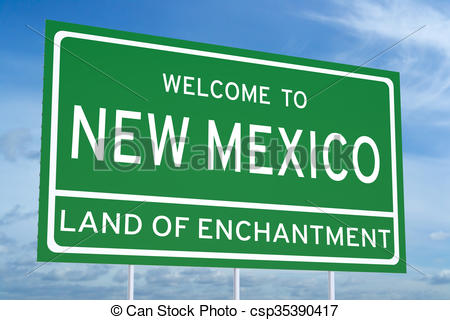 Clipart of Welcome to New Mexico state road sign.