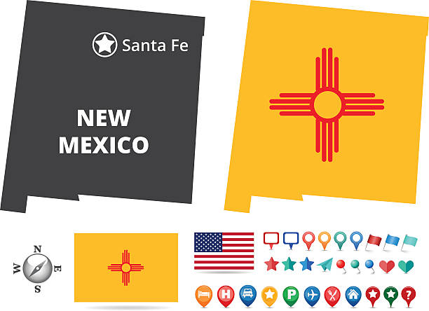 New Mexico State Flag Illustrations, Royalty.