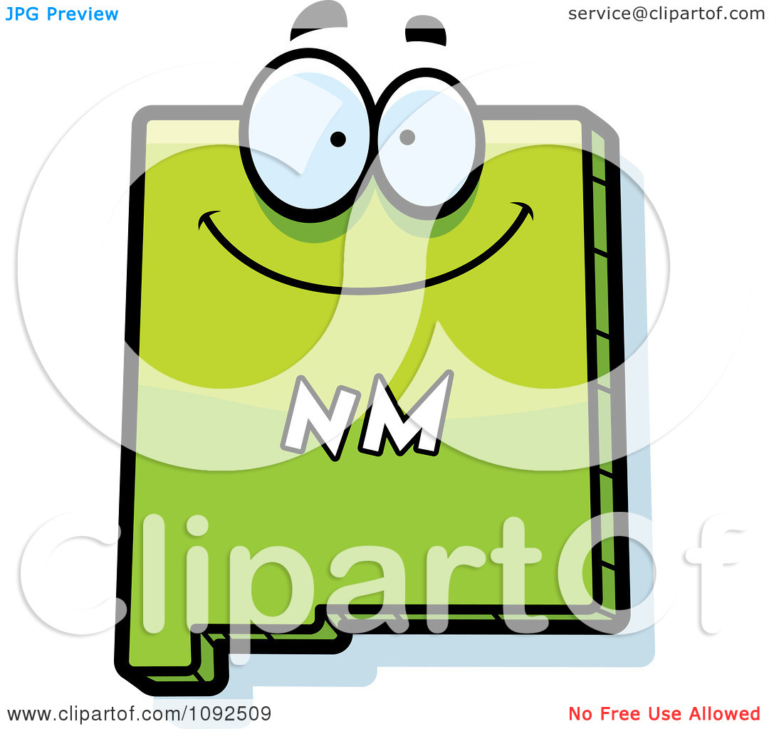 Clipart Happy Green New Mexico State Character.
