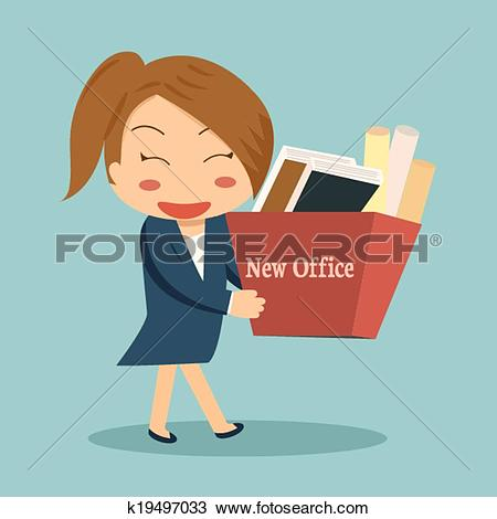 Clipart of Businesswoman moving into a new office or changing jobs.