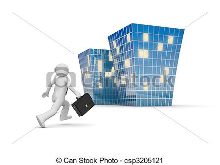 Clipart of Businessman invites to new office building.