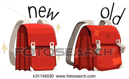 Schoolbag new and old Clipart.