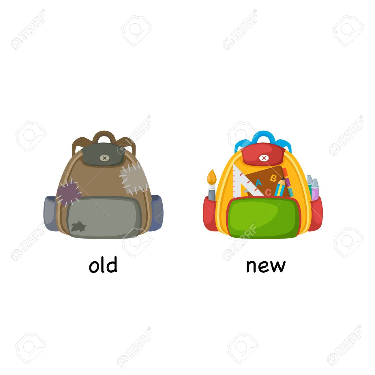 Old and new bag, opposite concept illustration.
