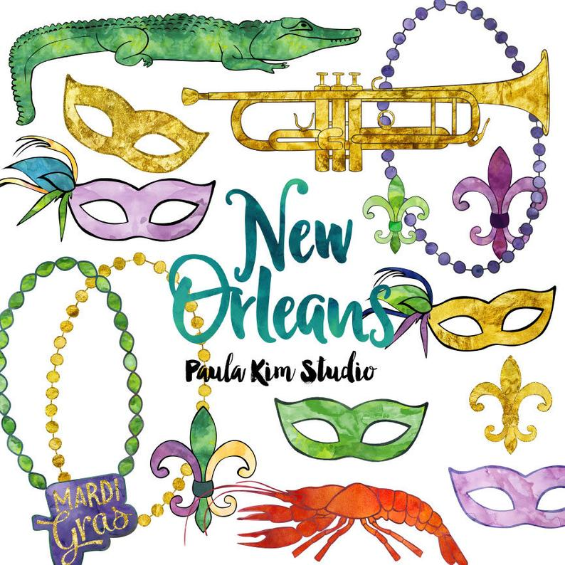 New Orleans Watercolor Mardi Gras Clip Art, Commercial Use Clipart,  Watercolor Clipart, New Orleans Digital Images.