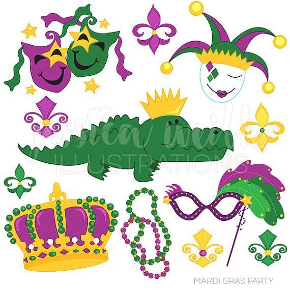 Mardi Gras Party Cute Digital Clipart, Mardi Gras Clip art.