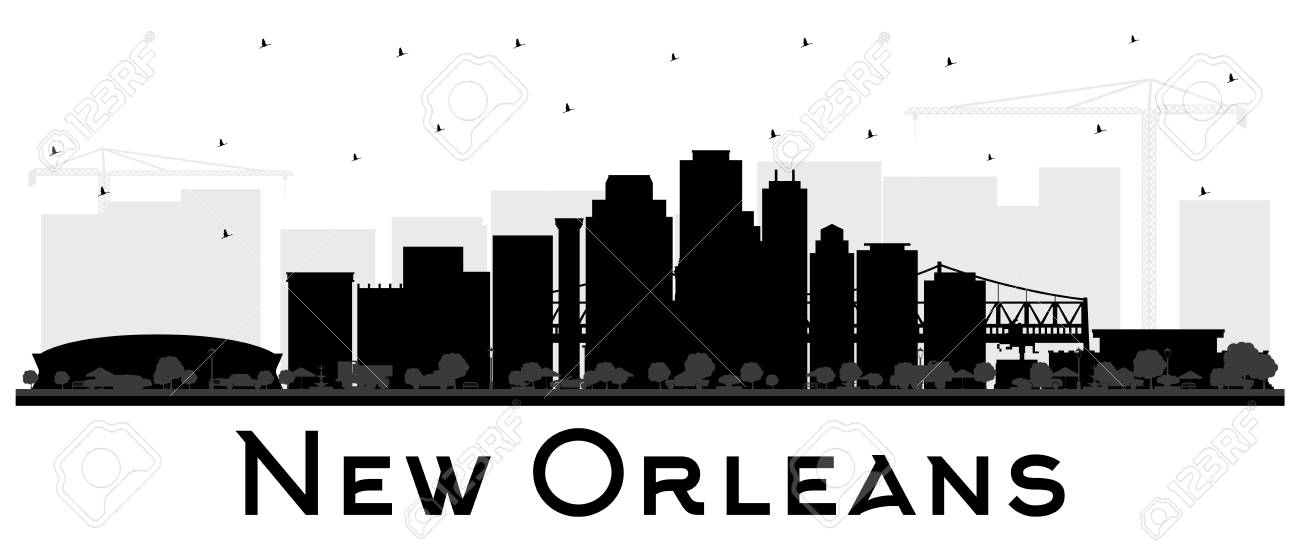 New Orleans Louisiana City Skyline Silhouette with Black Buildings...