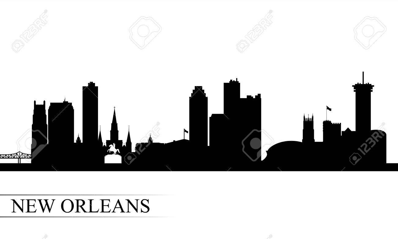 New Orleans city skyline silhouette background, vector illustration.