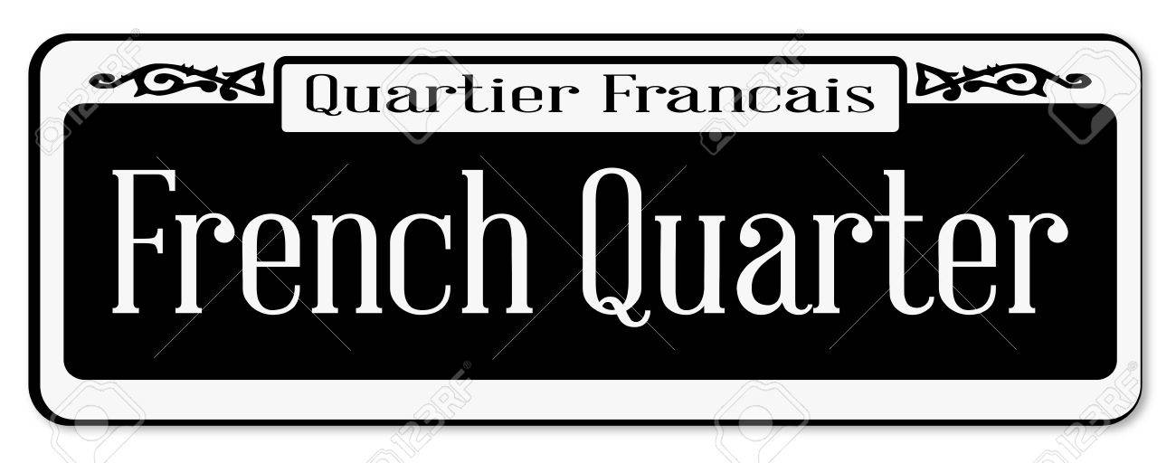 New Orleans street sign of Quartier Francais over a white background.