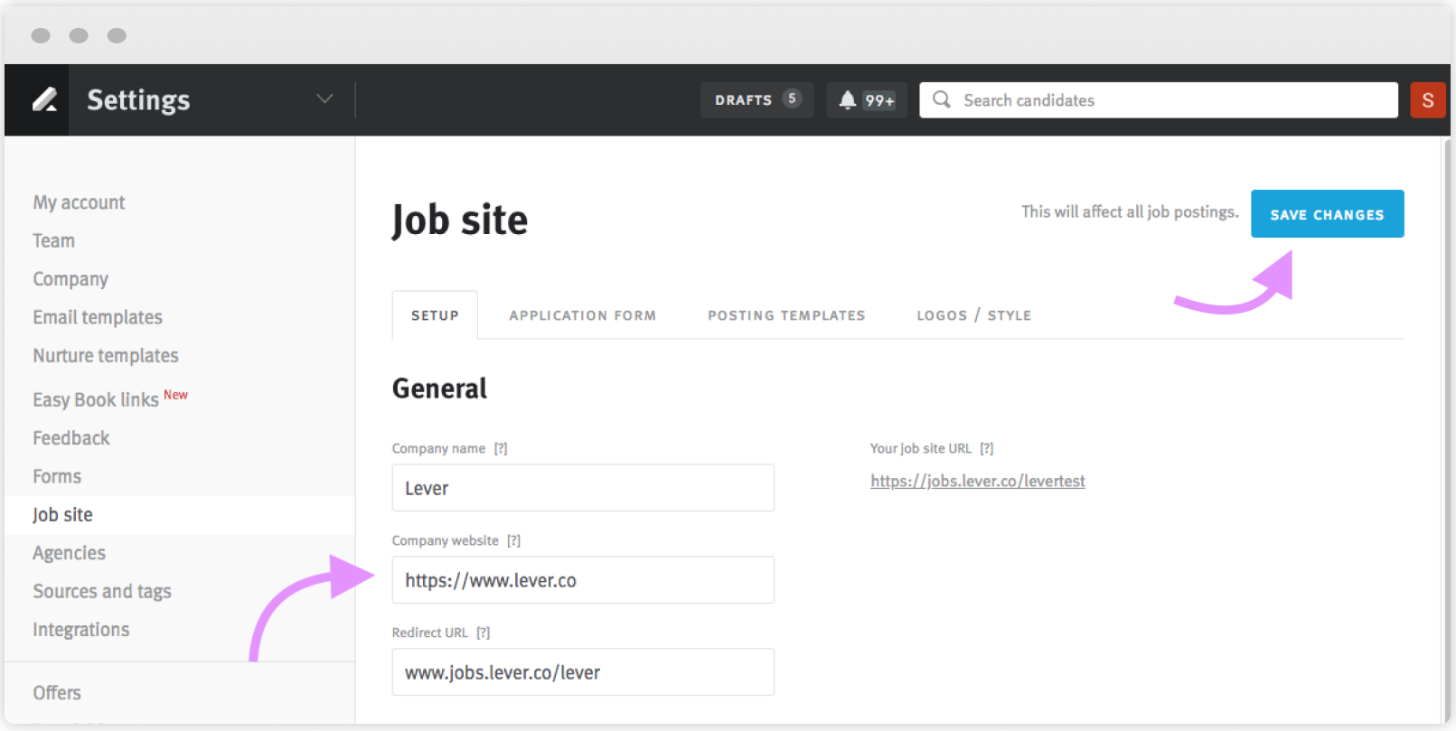 How can I customize my job site?.