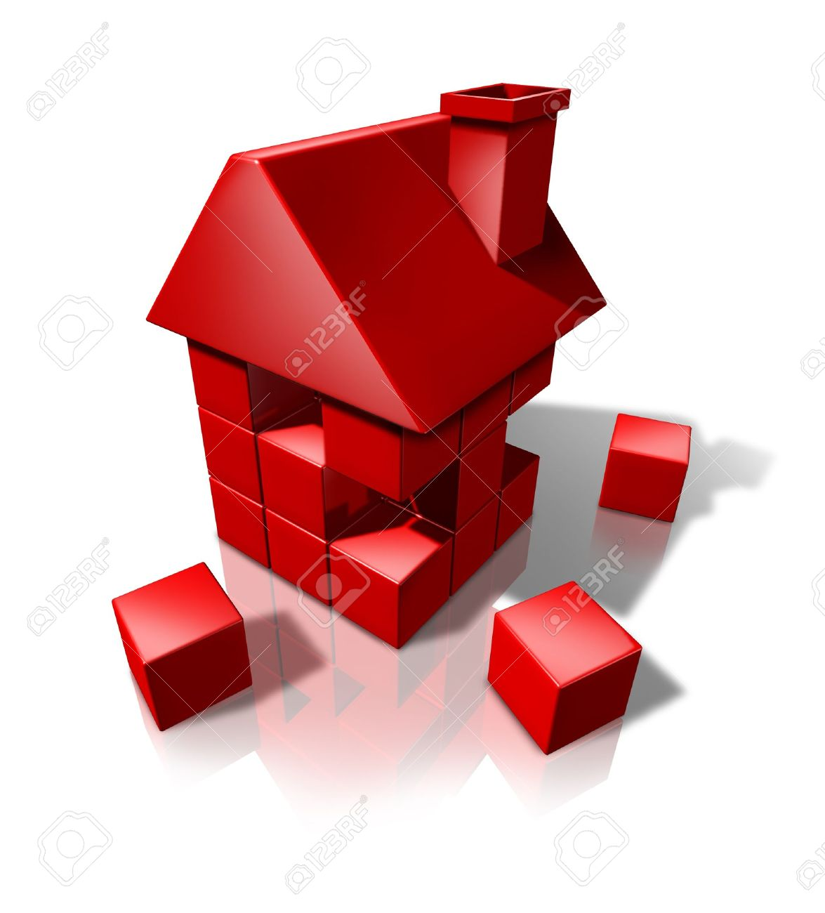 Housing Construction And Real Estate Industry Builders With Red.