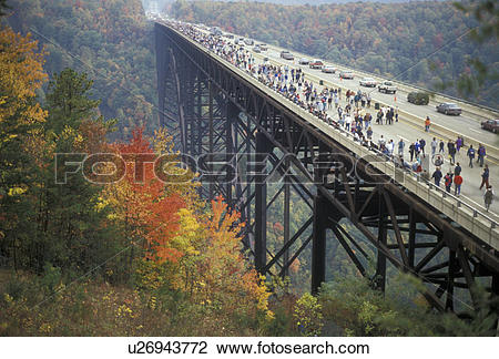 Stock Photo of bridge, West Virginia, People on New River Gorge.