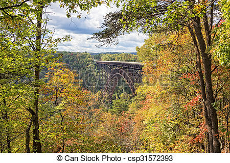 Stock Illustration of The New River Gorge Bridge In West Virginia.