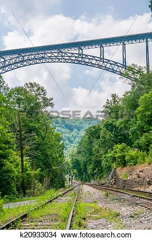 Stock Photo of West Virginia's New River Gorge bridge carrying US.