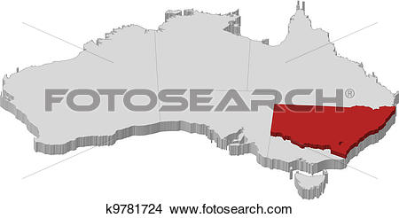 Clipart of Map of Australia, New South Wales highlighted k9781724.