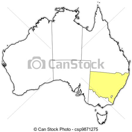 Clipart Vector of Map of Australia, New South Wales highlighted.