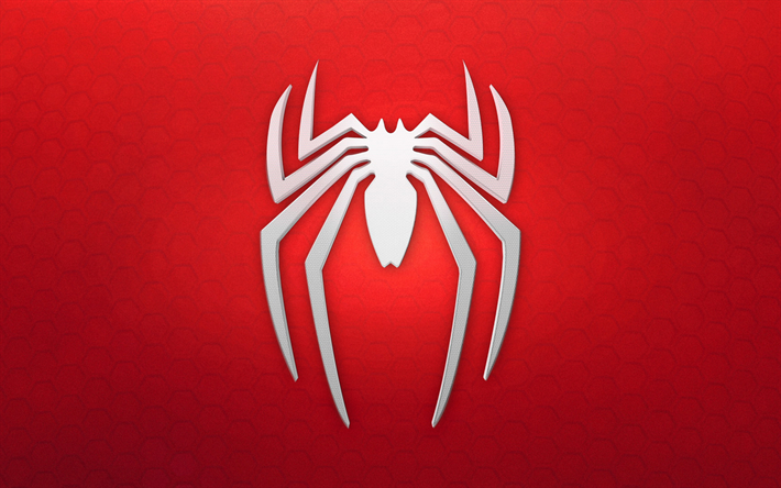 Download wallpapers Spiderman logo, 4k, red background.
